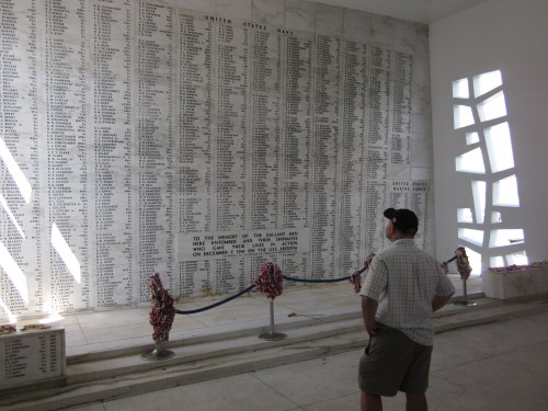 Photo I took of my husband Dave looking at the names of the 1,177 men who died on the USS Arizona when the Japanese bombed Pearl Harbor
