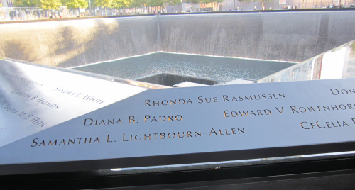 Photo I took at the reflecting pool at the 9/11 memorial in New York City. The terrorist attacks resulted in the deaths of 2, 996 people.